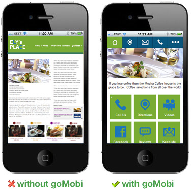Before and after images of a mobile website designed by goMobi.